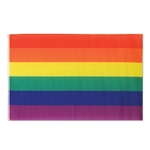 The Rainbow Flag is made of polyester material and measures 3 feet by 5 feet. Has two grommets for easy hanging. Contains 1 per package. This flag adds an abundance of color to your carnival, circus, or any event you are celebrating!