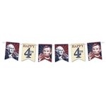 This 4th of July streamer features printed cardstock pennants depicting President's Lincoln and Washington, along with Happy 4th. Each pennant measures 9 by 7 and are printed on one side. Simple assembly required. Streamer measures 6 feet in length.