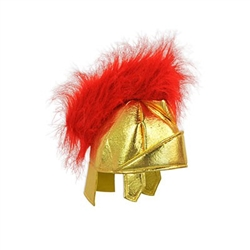 The Fabric Roman Helmet is a soft, gold fabric helmet with a furry red crest. Perfect for school plays or costumes. One size fits most adults. Not eligible for returns due to hygiene concerns.