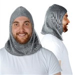 The Fabric Chainmail Hood is an all-fabric costume accessory designed to look like actual chain mail. Perfect for a Renaissance Faire or medieval event. Generously sized to fit adults, with a 21 inch face opening. No returns.