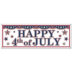 The 4th Of July Sign Banner is made of an all-weather plastic material and measures 21 inches by 5 feet. Its red, white, and blue and reads Happy 4th of July and decorated with stars. One per package.