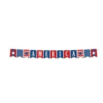Show your spirit and pride, by displaying the America streamer at your next event. This 8 foot  printed card stock streamer features pennant cards printed in a red, white, blue color scheme. Cards spell the word America. Simple assembly required.