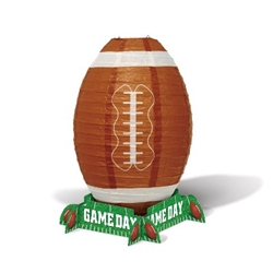 "The Game Day Football Lantern Centerpiece is made of paper and measures approx 11 in tall and 7 in wide. Each package contains 1 football shaped lantern, 4 cardstock ""Game Day"" signs that make the stand, and 1 metal support. Simple assembly required."