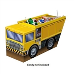 The 3-D Dump Truck Centerpiece is bright yellow and looks like a real dump truck! Made of cardstock. Measures 10.5 inches long and 5.25 inches high. One per package.