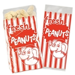 The Peanut Bags are printed with red and white stripes and read fresh PEANUTS with an image of a friendly elephant. They measure 4 inches wide by 9 1/2 inches tall by 2 inches. 50 bags per package. Allow peanuts to cool first. Silver ties included.