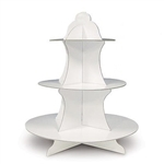 The White Cupcake Stand is made of cardstock and measures 13.5 inches tall. Has three tiers- bottom measures 12 inches, middle measures 9 inches, and the top measures 6 1/4 inches. One per package. Easily assembled.