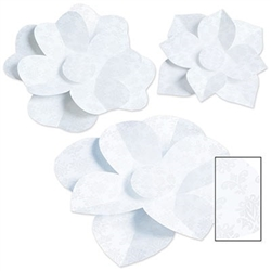 The Paper Flowers add elegance to whatever theme party or occasion you are celebrating! Made of white cardstock with a subtle intricate design. Printed 2 sides. Contains 3 per package. 1 measures 10 inches, 1 measures 12 inches, and 1 measures 17 ¼ inches