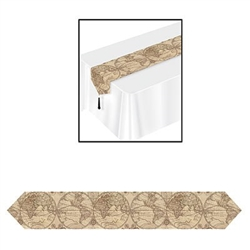 The Printed Around The World Table Runner is made of cardstock and printed with intricate details of continents around the world with black tassels attached to each end. Measures 11 inches wide and 6 feet long. Contains one per package.