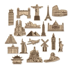 The Around The World Cutouts are made of cardstock and printed on two sides. Sizes range in measurement from 7 inches to 10.5 inches. Contains 20 pieces per package. Perfect for decorating an international theme party or going away party!