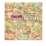 The Around The World Luncheon Napkins are two ply paper napkins and measure 6 1/2 inches by 6 1/2 inches. They're printed with stamps of different countries around the world. Contains 16 napkins per package.