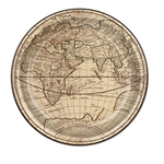 The Around The World Plates are made of tan cardstock printed with a detailed map. Measure 9 inches. Contains 8 plates per package.