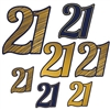 "The ""21"" Foil Cutouts are black and gold and come in different patterns. Patterns include gold with blue outline, blue with gold outline, and gold with blue stripes. Made of cardstock. Measurements include 5.75 in, 8 in, and 11 in. 7 pieces per package"
