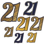 "The ""21"" Foil Cutouts are black and gold and come in different patterns. Patterns include gold with black outline, black with gold outline, and gold with black stripes. Made of cardstock. Measurements include 5.75 in, 8 in, and 11 in. 7 pieces per package"