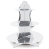 The Metallic Cupcake Stand is made of cardstock with a silver metallic foil finish. Measures 13 1/2 inches tall. Contains one (1) per package. Simple assembly required.