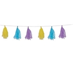 The Pastel Tissue Tassel Garland is made of tissue and is pastel yellow, light blue, and lavender colored. Measures 9 ¾ inches by 8 feet long and has 12 tassels attached. Contains one (1) per package.