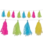 The Tissue Tassel Garland - Cerise, Light Green, Turquoise, Yellow measures 8 feet long and consist of (12) 9 ¾ inch tassels. Made of tissue. Sold one garland per package.