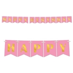The Foil Happy Birthday Streamer is made of pink cardstock with gold foil lettering. It measures 6 inches tall and 12 feet long. Contains one streamer per package. Simple assembly required.