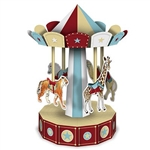 The 3-D Vintage Circus Carousel Centerpiece is made of colorful cardstock and measures 10 inches tall. Features animals as the seats including a tiger, a giraffe, a horse, and a camel. Assembly required, instructions included. One per package.