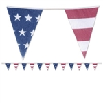 The Americana Fabric Pennant Banner will add a vintage look to your patriotic decorations. Fabric pennants are printed with alternating designs of stars and stripes. Banner measures 12 feet in length, and features 12 pennants. One banner per package.