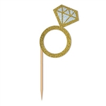 Diamond Ring Cupcake Toppers will put a little bling on everything! 3-inch wooden food picks topped with a glittery card stock gold and silver ring are perfect for most any finger food or sweet treat. Pack includes 24 picks. Perfect for engagement parties