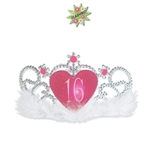 "The Plastic Light-Up ""16"" Tiara is a standard sized silver tiara with soft white marabou feathers lining the headband. It has a glittery pink heart medallion with the number 16 printed in white lettering embellished with pink faux gems. No return"