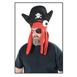 The Felt Pirate Squid Hat adds a whimsical touch to any pirate outfit. The red felt squid-like creature peers out from beneath a traditional black pirate's hat. Tentacles fall on either side of your face. One size fits most adults. No returns.