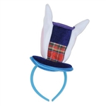 The Bunny Top Hat & Ears Headband is a navy blue top hat with two bunny ears on top of a standard headband covered with blue fabric. Its a perfect accessory to add to your Easter look or your Alice in Wonderland theme party! One size fits most. No returns