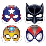 Transform into a superhero in just seconds with one of these Deluxe Hero Masks! There is even elastic attached, so all you have to do is put the mask on and it will do the rest! Each mask measures anywhere from eight to 10 inches. One per package.