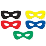 Each Hero Half mask comes with an elastic strap attached, so you won't be messing with it all night. Each package comes with two half masks in each of the following colors: green, yellow, black, red and blue.