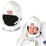 Pretend you're headed to space when you wear this adult size plush astronaut hat. Made of a velour-like fabric, this costume hat is shaped just like a real astronaut helmet, but with an open face and a fake fabric microphone. Not eligible for returns.