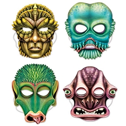 Scare your friends this Halloween by using an Alien Mask as the main component of your Halloween costume! There is an elastic strap attached, so just place the mask on and it will stay in place the rest of the evening! Comes four per package.