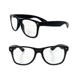 The glasses are black with clear lenses and will comfortably fit the average sized head. These novelty glasses won't protect your eyes from the sun, but they can add that extra flair to your outfit. There will be one pair of glasses in the package.
