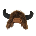 This Plush Buffalo Hat is perfect to top off your next western theme party. This synthetic brown fur hat is accented by a set of black felt horns. Sized to fit most adults. Not eligible for returns due to hygiene concerns.