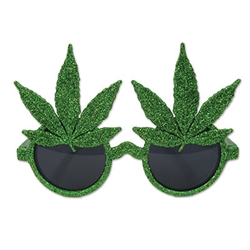 Celebrate 4/20 in style this year by sporting these fashionable Glittered Weed Glasses. These glasses are green and there are cannabis leaves above the dark lenses. Also, just about everything is glittered!