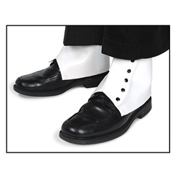 These White Spats are a classic footwear accessory that you can use to cover and protect your instep and ankle. Just wear like any normal spatterdashes and clasp the metal snaps.