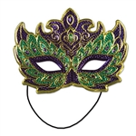 his mask is an elegant, festive mix of purple, gold and green. It's a very comfortable mask that even has an elastic strap attached to the back, which will help keep the mask on all night.
