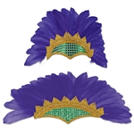 This Feathered Showgirl Headpiece instantly turns you into a Mardi Gras showgirl! It has purple feathers with an elegant gold section around green sequins.