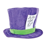 This plush Mad Hatter Hat is made of a soft purple and green material and this hat is extremely comfortable to wear.