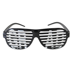 "Celebrate a recent graduate with a pair of these Grad Shutter Glasses. These black glasses feature the typical look of shutter shades, with the word ""GRAD"" written across the two lenses. Comes one pair of awesome Grad Shutter Glasses per package."