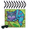 Have some fun at an upcoming Alice in Wonderland party by playing Pin The Smile on The Cheshire Cat Game. The package includes the picture board, the blindfold and nine numbered smiles. The picture of the Cat measures 16 inches by 18 inches.