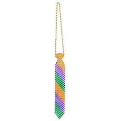 Look fun and professional at the Mardi Gras party this year by sporting this colorful Beaded Mardi Gras Tie. The alternating colors give it a clean look, while the beads give the tie a nice shine. Measures 13 inches in length and comes one per package.