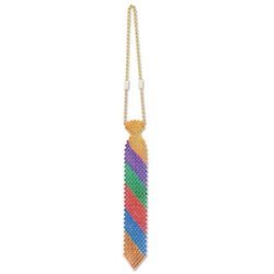 Don't forget this fun Beaded Rainbow Tie before heading out to a rainbow party or rally! This tie is made completely of beads and the color pattern gives it that fun rainbow look you desire. Measures 13 inches in length. It's an excellent party accessory