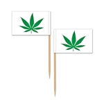 "Enjoying some ""special"" brownies for a 4/20 party? Sticking one of these Weed Picks in them is a great way to get excited about a 420 party. These picks measure 2.5 inches and have a piece of paper with a cannabis leaf on it. Comes 50 picks per package."