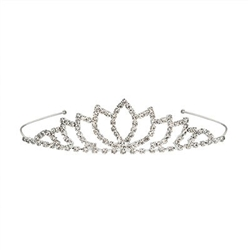 The Royal Rhinestone Tiara is made of metal with clear rhinestones. Fits full adult head size. One size fits most. Due to hygiene-related concerns, this item is not eligible for return. One per package.