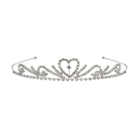 The Royal Rhinestone Tiara is decorated with gem swirls with a heart in the center with a faux gem in the middle. Fits full adult head size. One size fits most. Due to hygiene-related concerns, this item is not eligible for return. One per package.