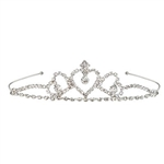 The Royal Rhinestone Tiara is made of metal with clear rhinestones. Topped with a heart design with a faux gem in the center. Fits full head size. One size fits most. One per package. No returns.