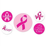 Pink Ribbon Buttons (5 Buttons Per Package)