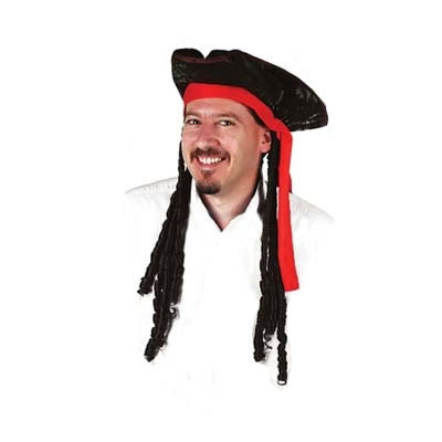 35163539a7b Caribbean Pirate Hat with Dreadlocks - PartyCheap