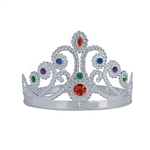Silver Plastic Jeweled Queen's Tiara