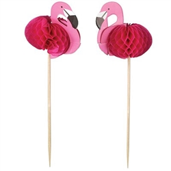 The Flamingo Picks are made of cardstock with a honeycomb tissue body. The flamingo measures 2 inches and the pick measures 6 inches long. Contains 24 per package.